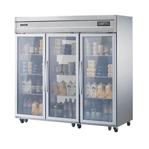 고급형 65박스 디지털 직접 냉각 냉장 1775L 유리문 올 스텐