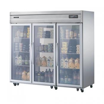 고급형 65박스 디지털 간접 냉각 냉장 1647L 유리문 올 스텐
