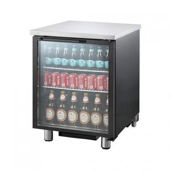 호프냉장고 테이블 간접 냉각 냉장 223L 1도어 유리문 상부 스텐