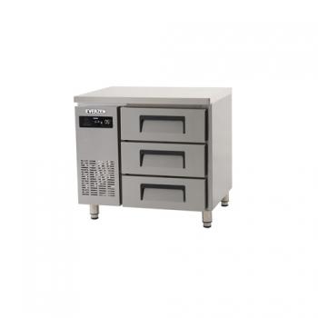 에버젠 간접냉각방식 테이블 900 높은 서랍식 (3단) 냉장 178L