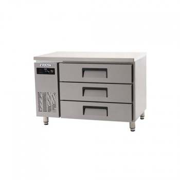 에버젠 간접냉각방식 테이블 1200 높은 서랍식 (3단) 냉장 275L
